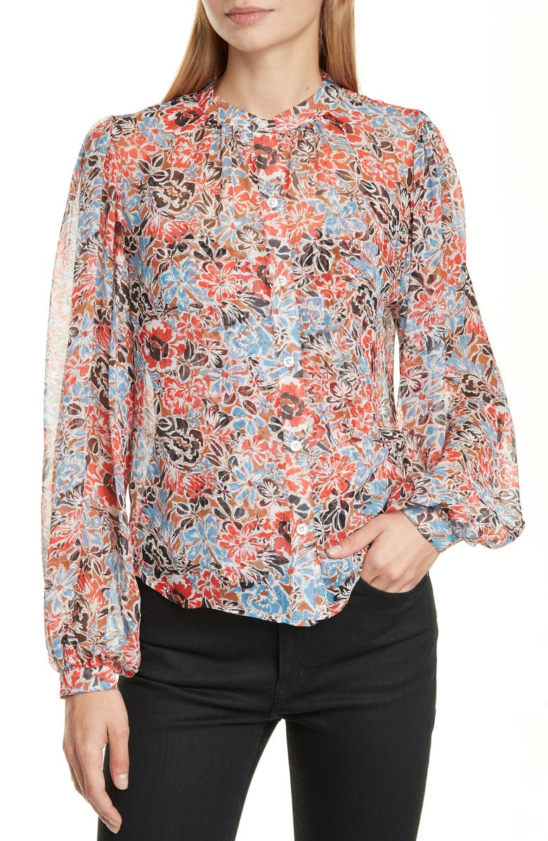 VERONICA BEARD Ashlynn Floral Print Silk Blouse, Main, color, RED MULTI