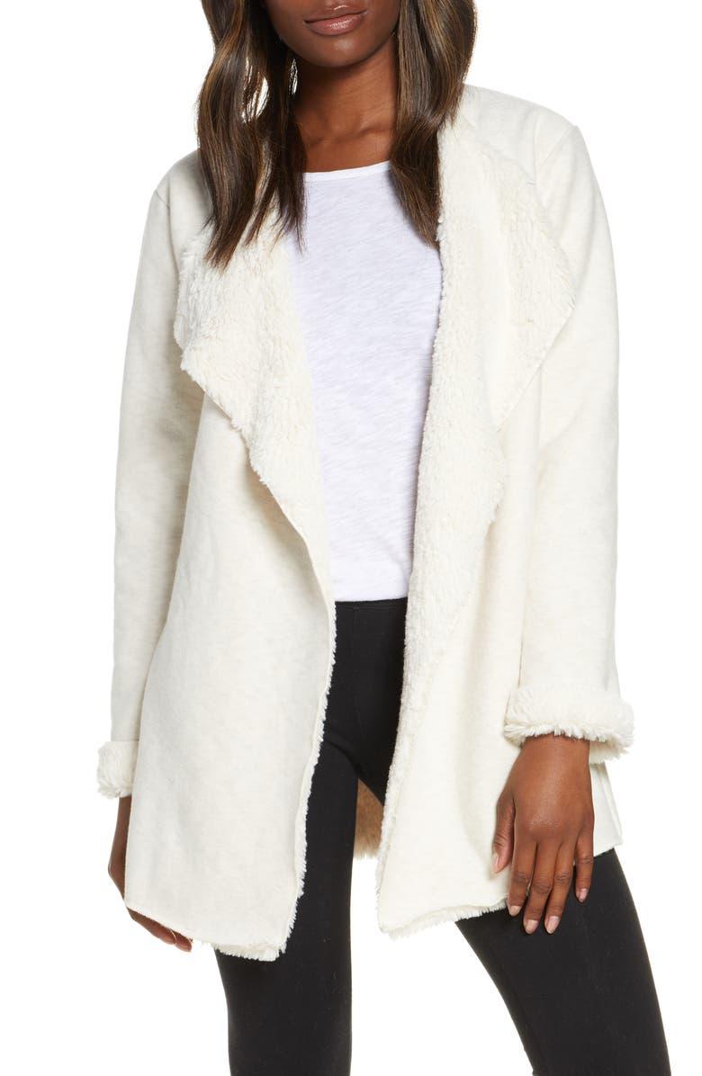 UGG<SUP>®</SUP> Abriana Fleece Lined Cardigan, Main, color, CREAM HEATHER