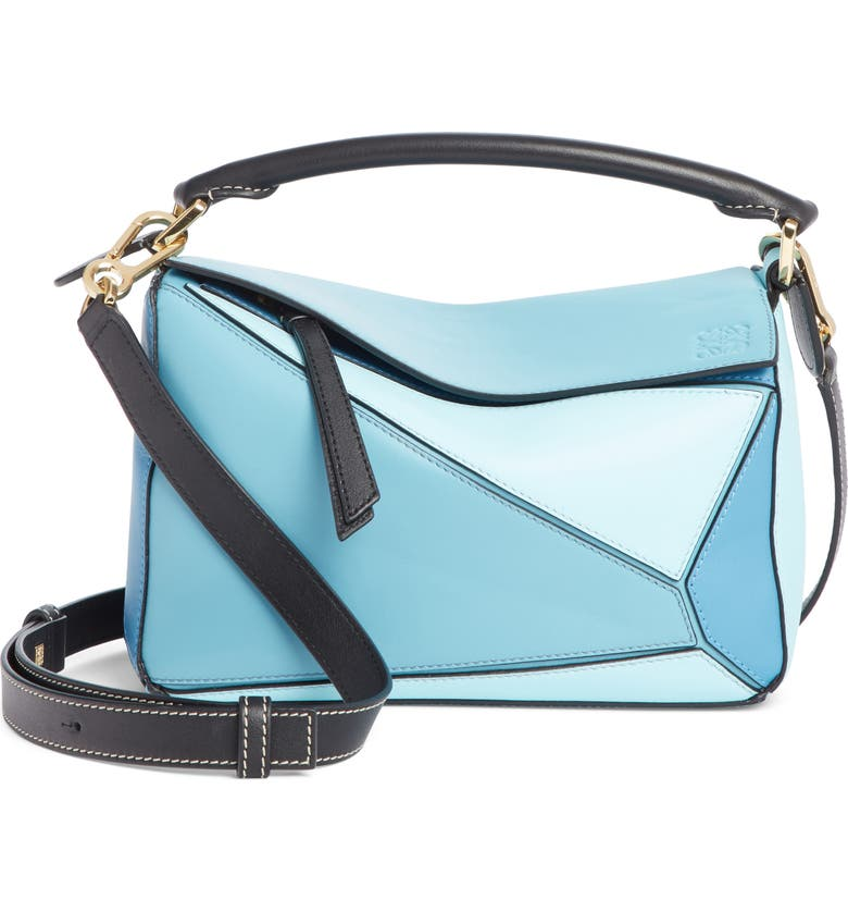 LOEWE Puzzle Small Calfskin Leather Bag, Main, color, LIGHT BLUE/ AQUA