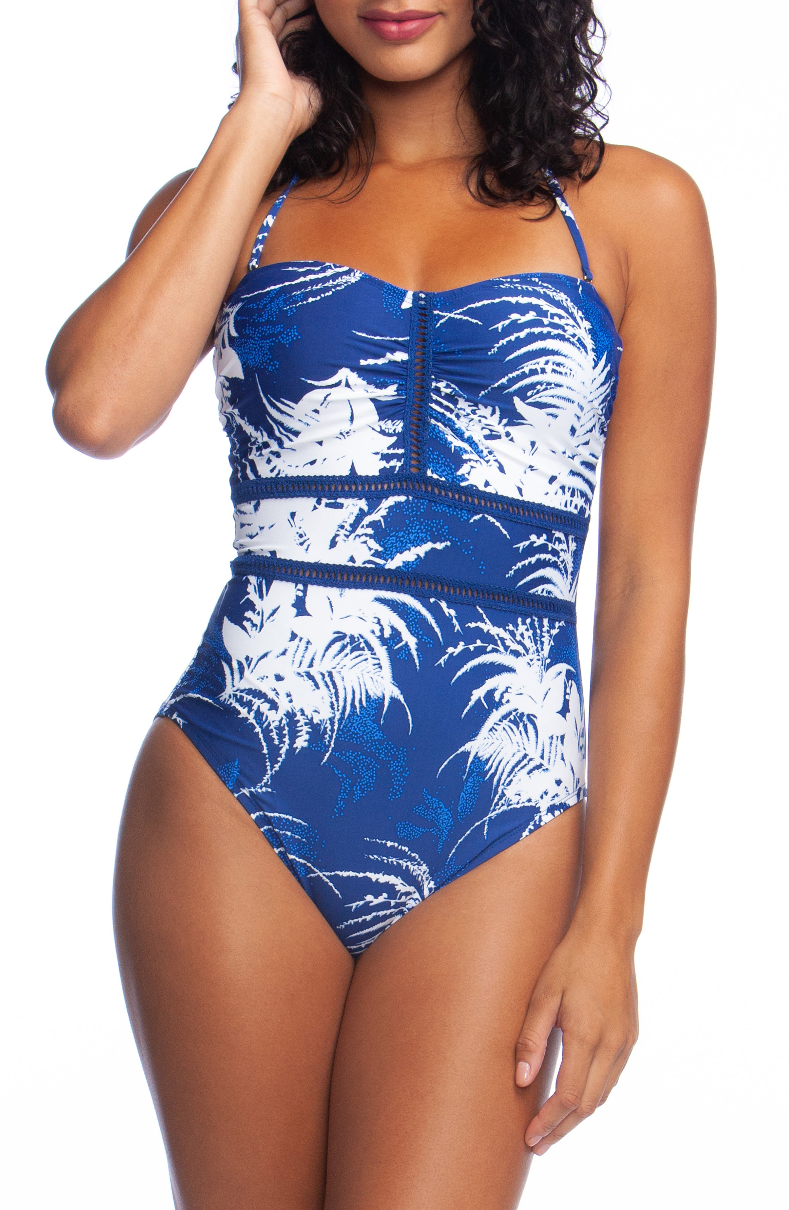 La Blanca Bandeau One-Piece Swimsuit, Blue
