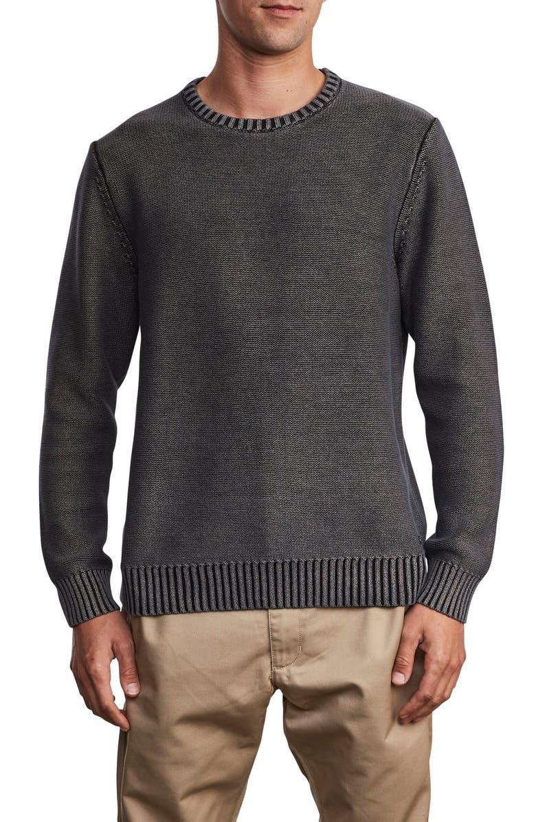 RVCA Cal Stone Crewneck Sweater, Main, color, 001