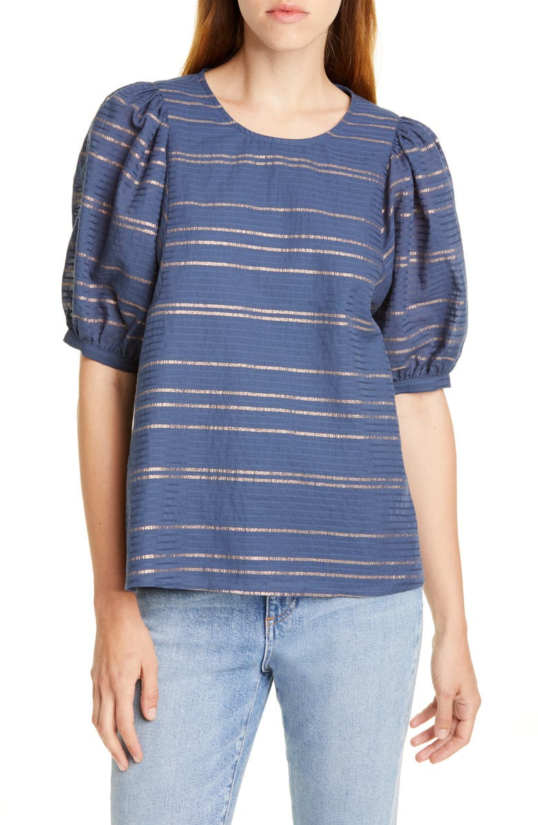 DOLAN Back Button Metallic Stripe Blouse, Main, color, INDIGO/ METALLIC STRIPE