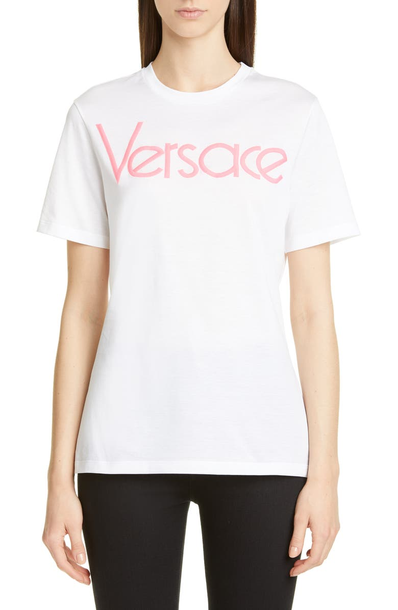 VERSACE Vintage Logo Embroidered Cotton Tee, Main, color, WHITE