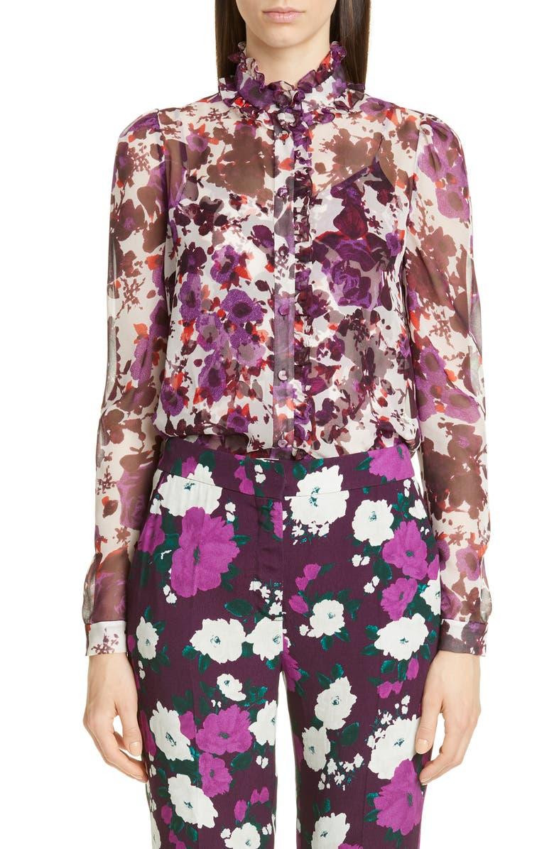 ERDEM Ruffle Trim Floral Print Cotton Blouse, Main, color, WHITE/ PURPLE