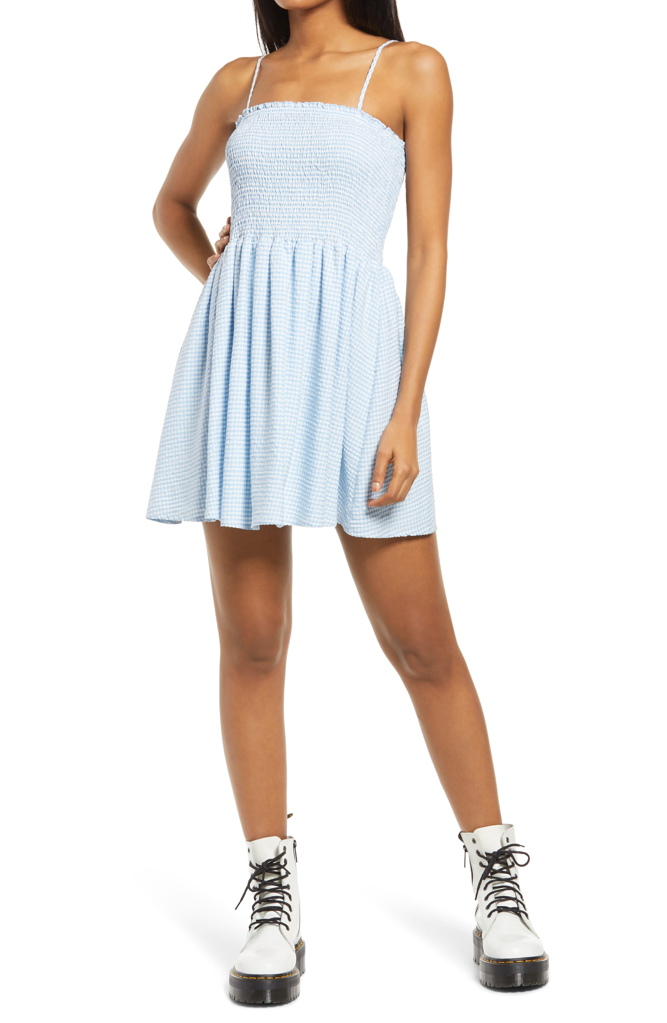 Treat Me Right Gingham Smocked Minidress