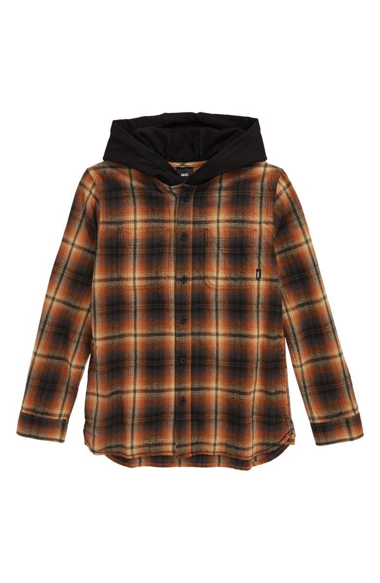 VANS Lopes Plaid Flannel Hooded Shirt Jacket, Main, color, KHAKI