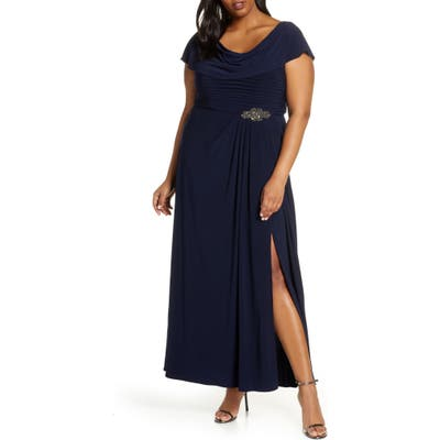 Plus Size Alex Evenings Cowl Neck Beaded Waist Gown, Blue