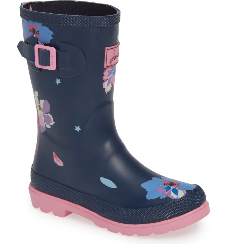JOULES Mid Height Print Welly Waterproof Rain Boot, Main, color, BLUE CONFETTI FLORAL