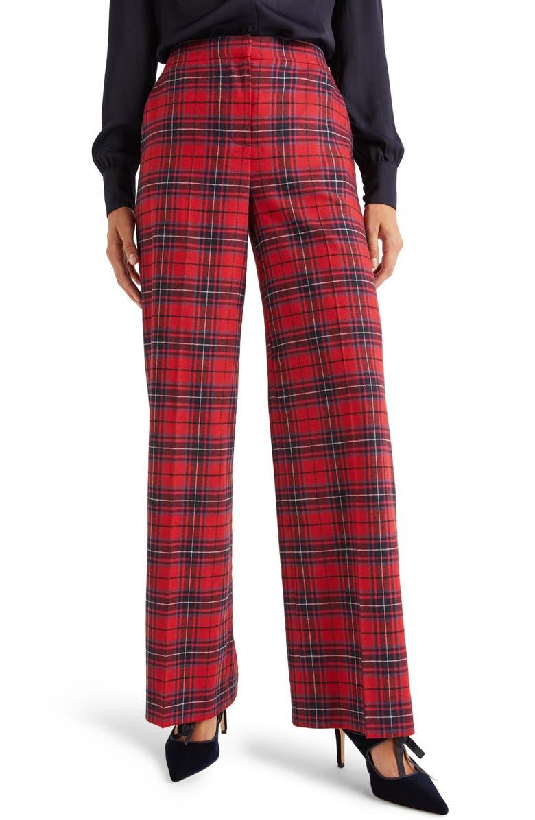 BODEN Inverness Tartan Wide Leg Pants, Main, color, POINSETTIA RIVER CHECK