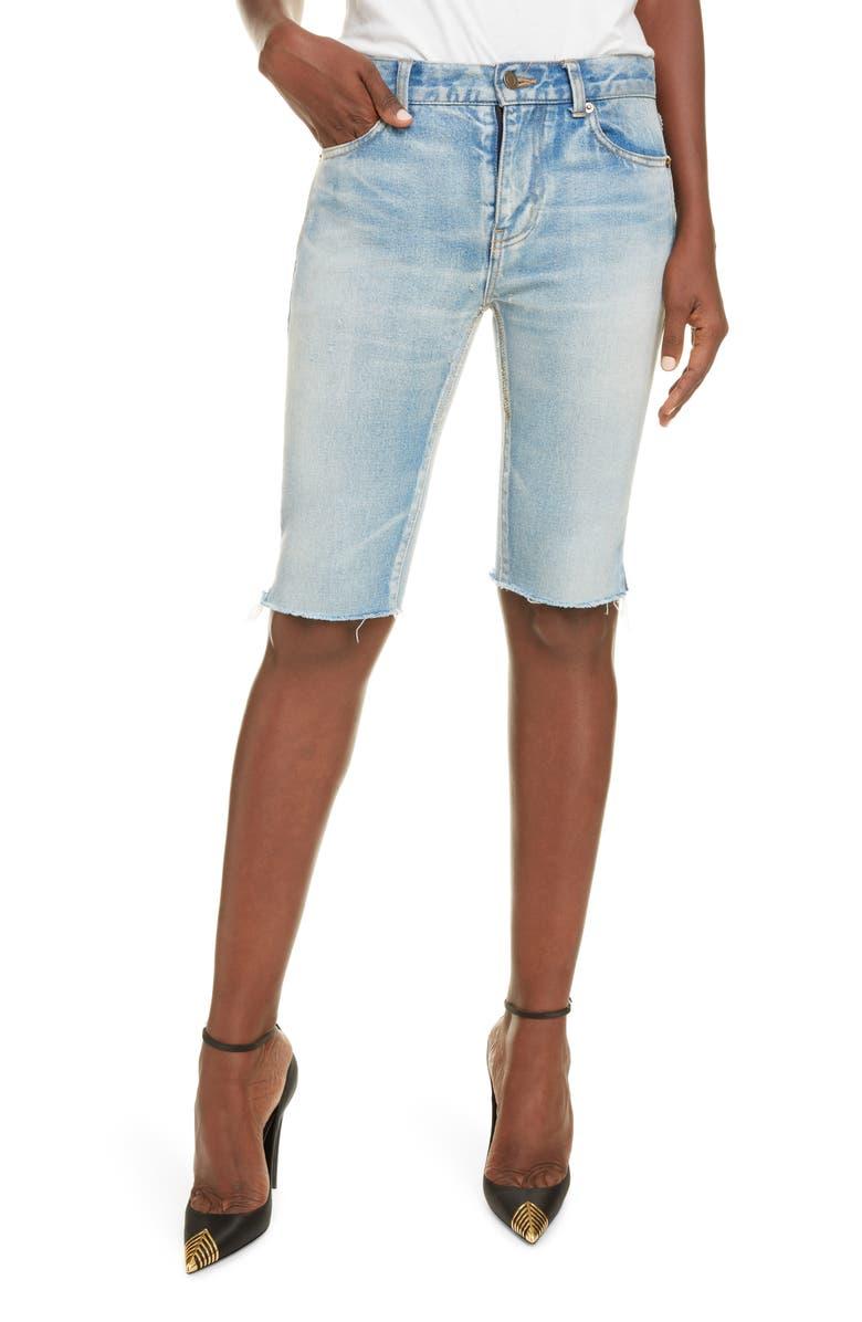SAINT LAURENT Denim Bermuda Shorts, Main, color, WORN LIGHT BLUE