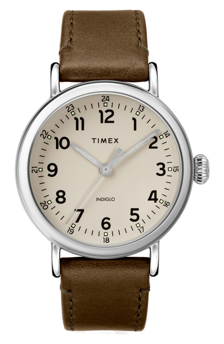 TIMEX<SUP>®</SUP> Standard Leather Strap Watch, 40mm, Main, color, OLIVE/ GREY/ SILVER