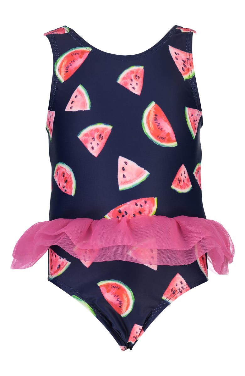 SNAPPER ROCK Watermelon Print Skirted One-Piece Swimsuit, Main, color, BERRY/ NAVY/ WHTE