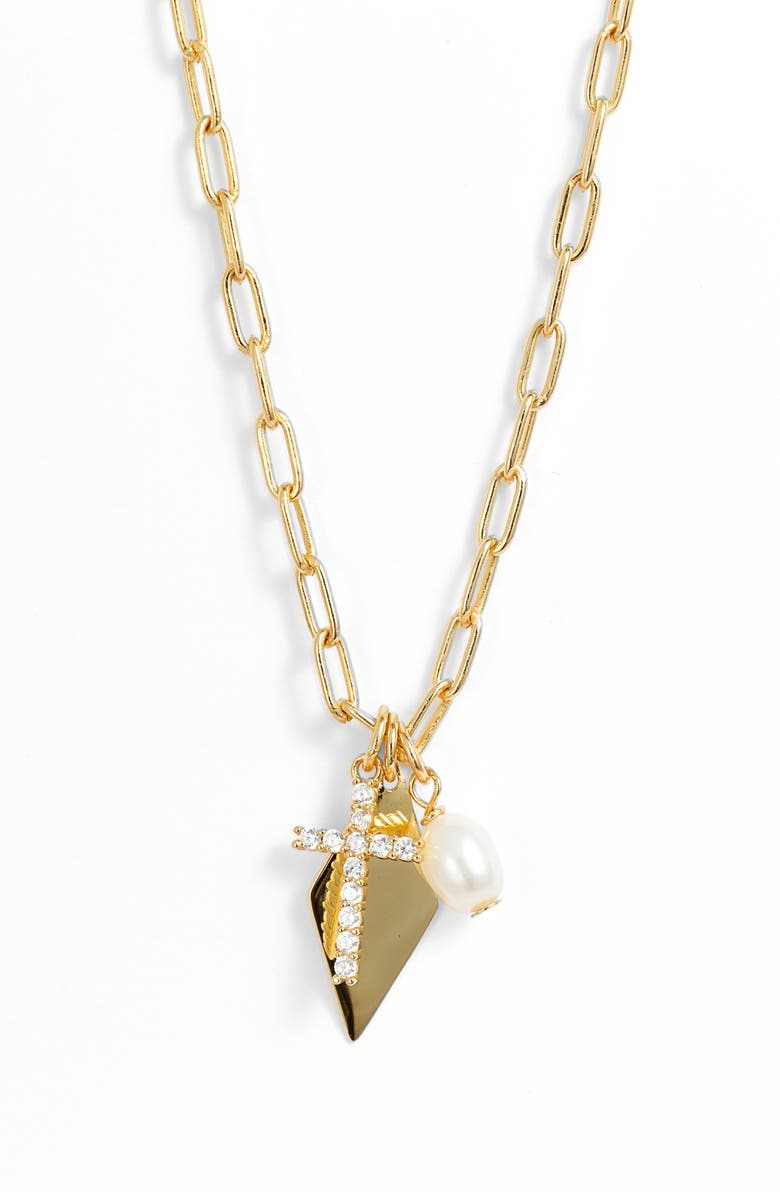 ARGENTO VIVO STERLING SILVER Argento Vivo Cubic Zirconia & Cultured Pearl Multi Charm Pendant Necklace, Main, color, 710