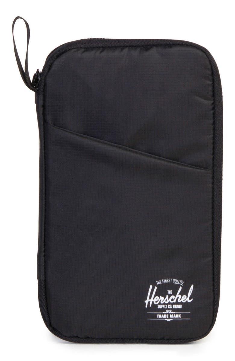 HERSCHEL SUPPLY CO. Travel Wallet, Main, color, BLACK