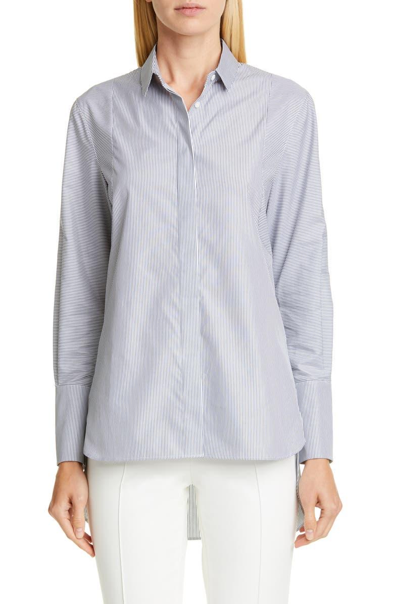 AKRIS PUNTO Stripe Tunic Shirt, Main, color, DARK DENIM/ CREAM