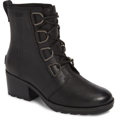Sorel Cate Waterproof Lace-Up Boot, Black