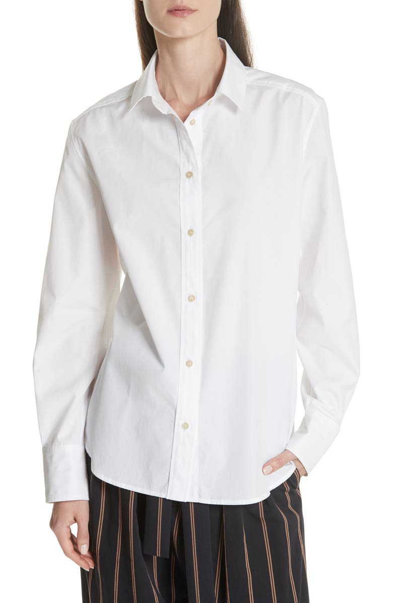 VINCE Long Sleeve Cotton Shirt, Main, color, OPTIC WHITE