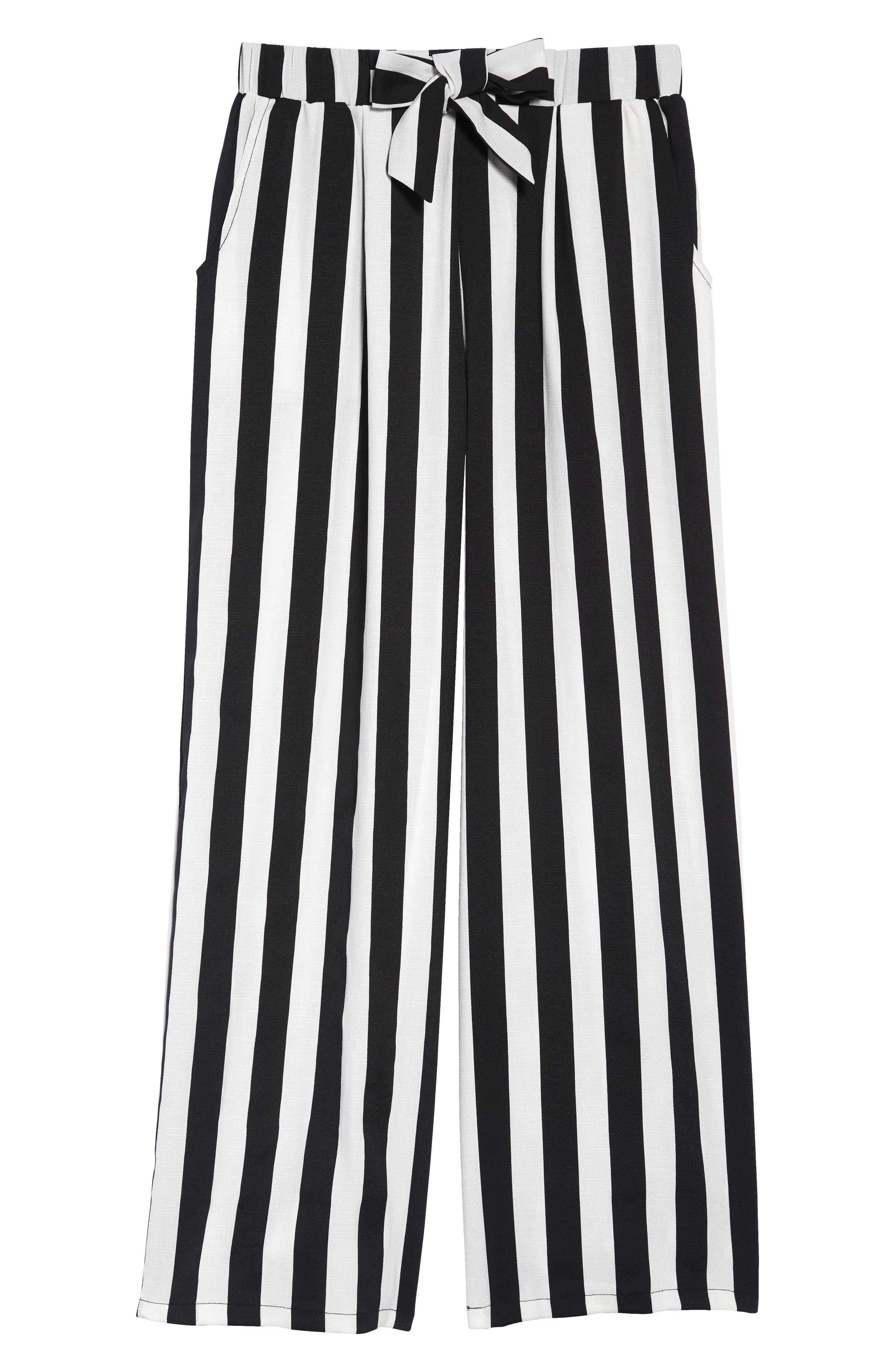 Mia Chic Vertical Stripe Pants, Main, color, BLACK WHITE