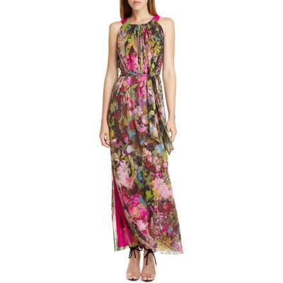 Fuzzi Floral Print Maxi Dress, Pink
