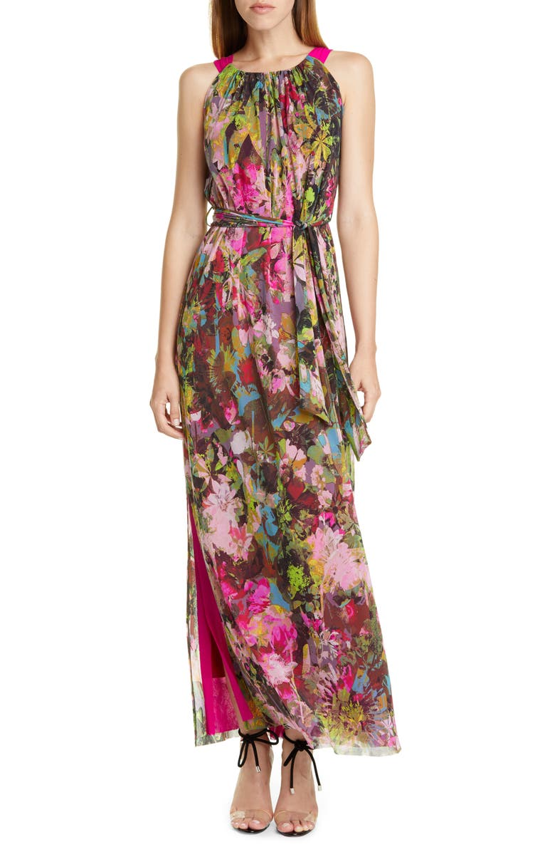 FUZZI Floral Print Maxi Dress, Main, color, BILIARDO