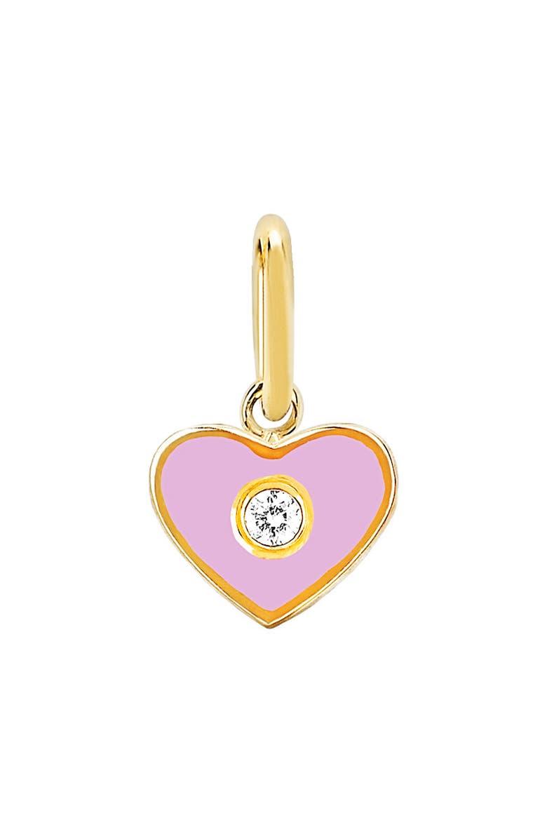 EF COLLECTION Diamond Enamel Heart Pendant Charm, Main, color, PINK/ DIAMOND/ YELLOW GOLD
