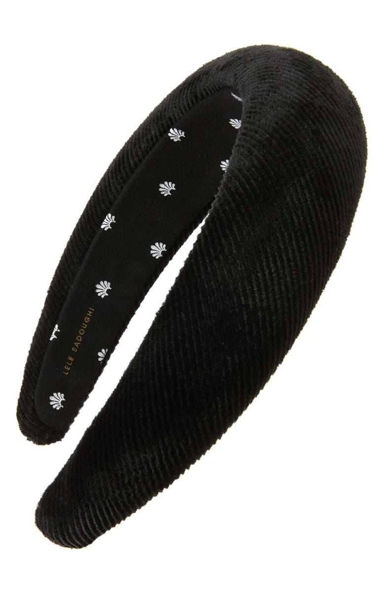 LELE SADOUGHI Corduroy Padded Headband, Main, color, CHARCOAL