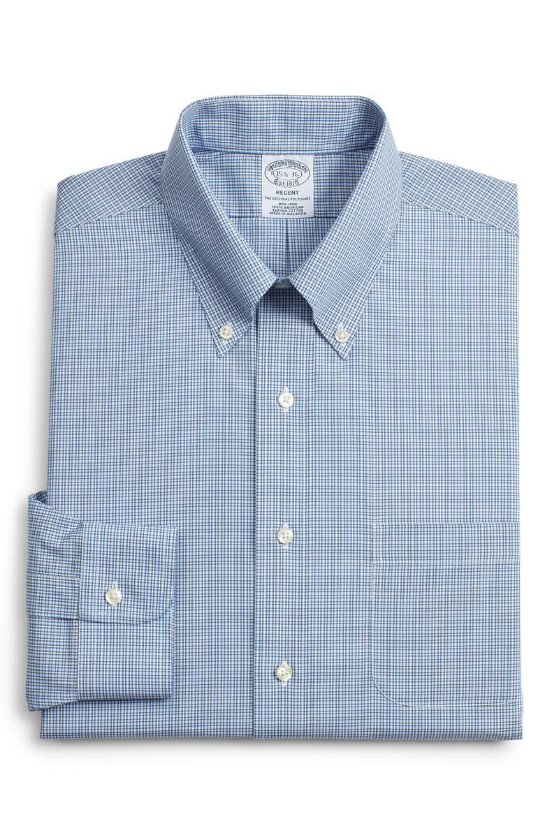 BROOKS BROTHERS Regent Regular Fit Plaid Dress Shirt, Main, color, BLUE