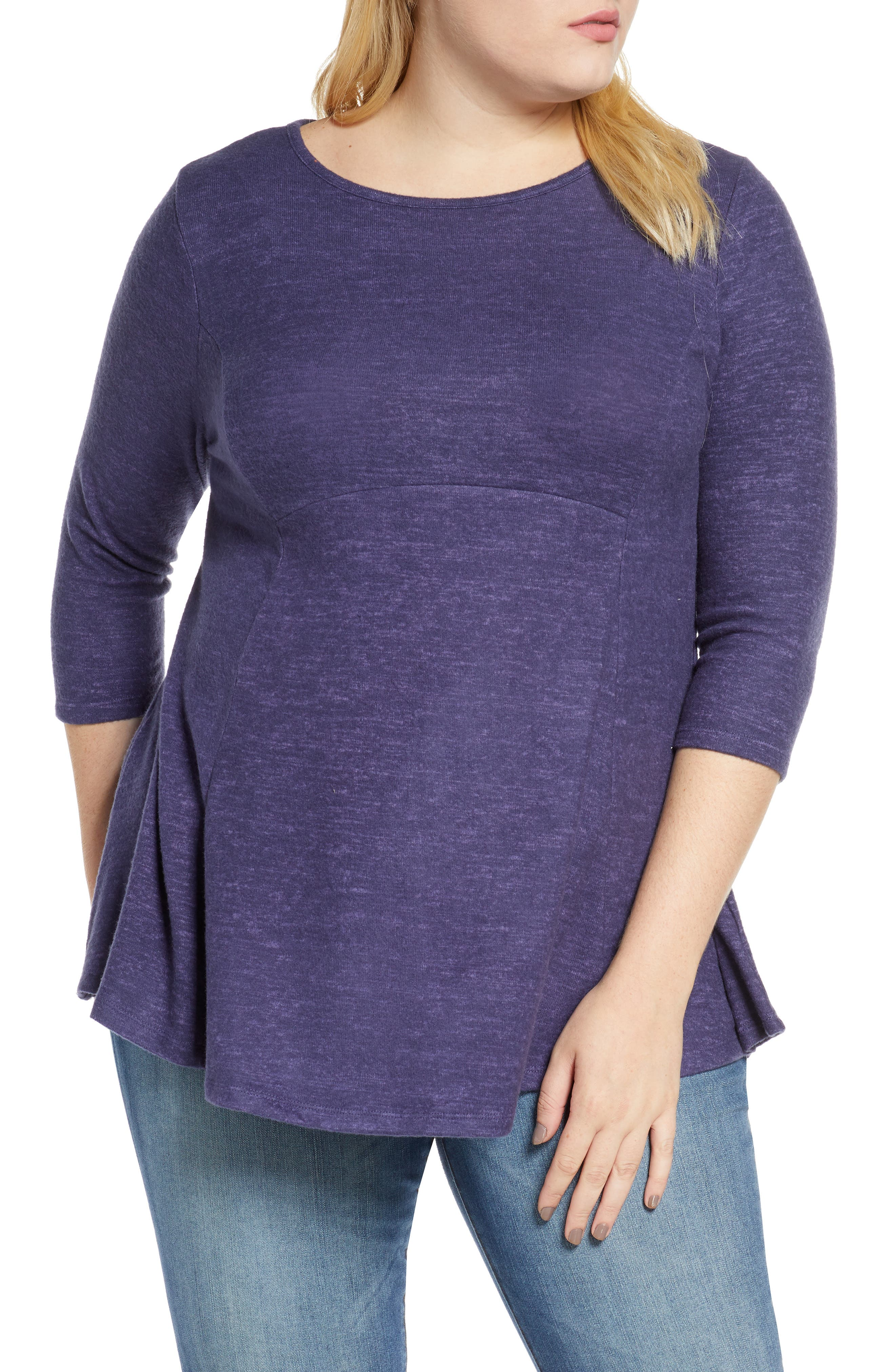 Fitted through the torso before flaring at the curved hem, this tunic-length knit top is bound to be an instant favorite for easy styling. Style Name: Bobeau Brushed Knit Babydoll Top (Plus Size). Style Number: 5709269. Available in stores.