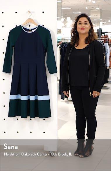 Colorblock Long Sleeve Pleated Midi Dress, sales video thumbnail