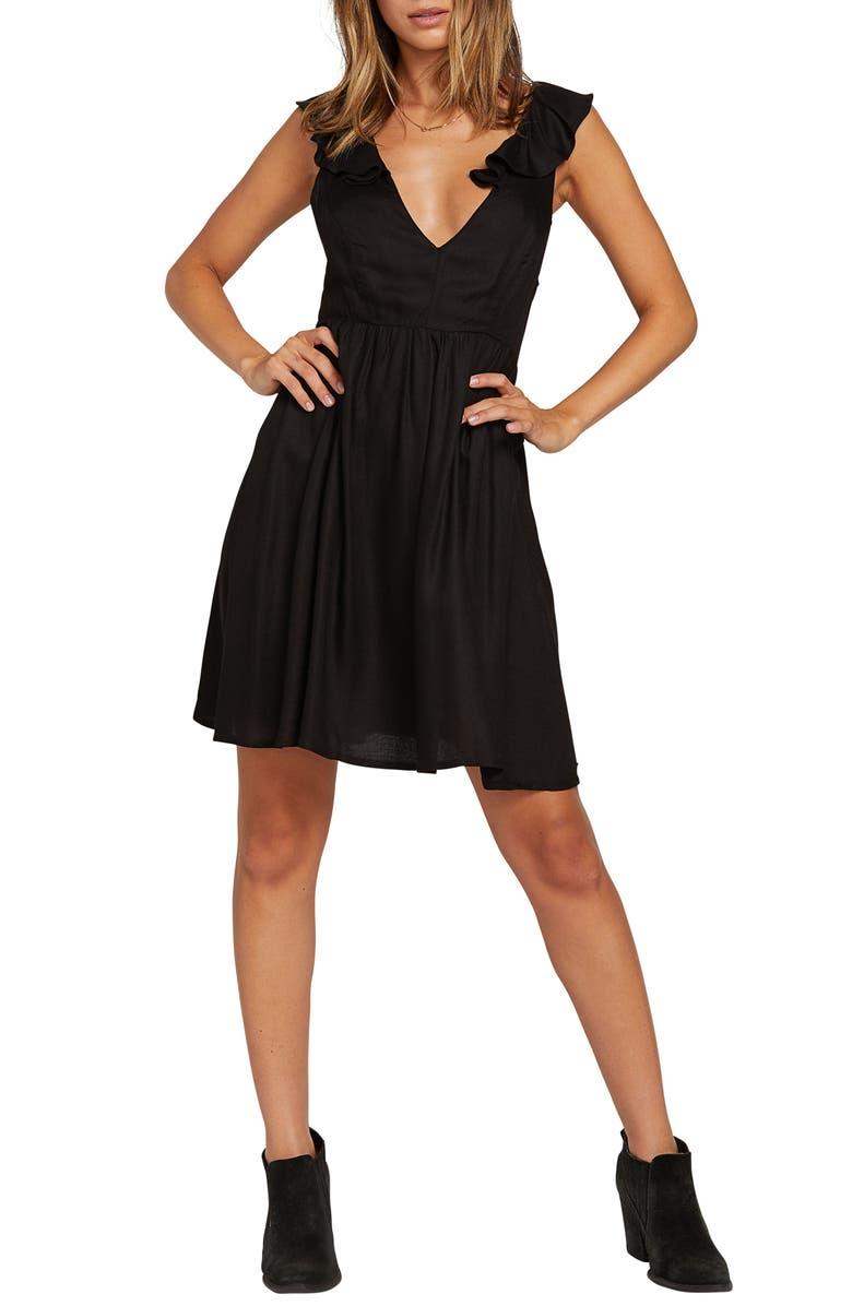 VOLCOM Day Day Ruffle Strap Minidress, Main, color, BLACK