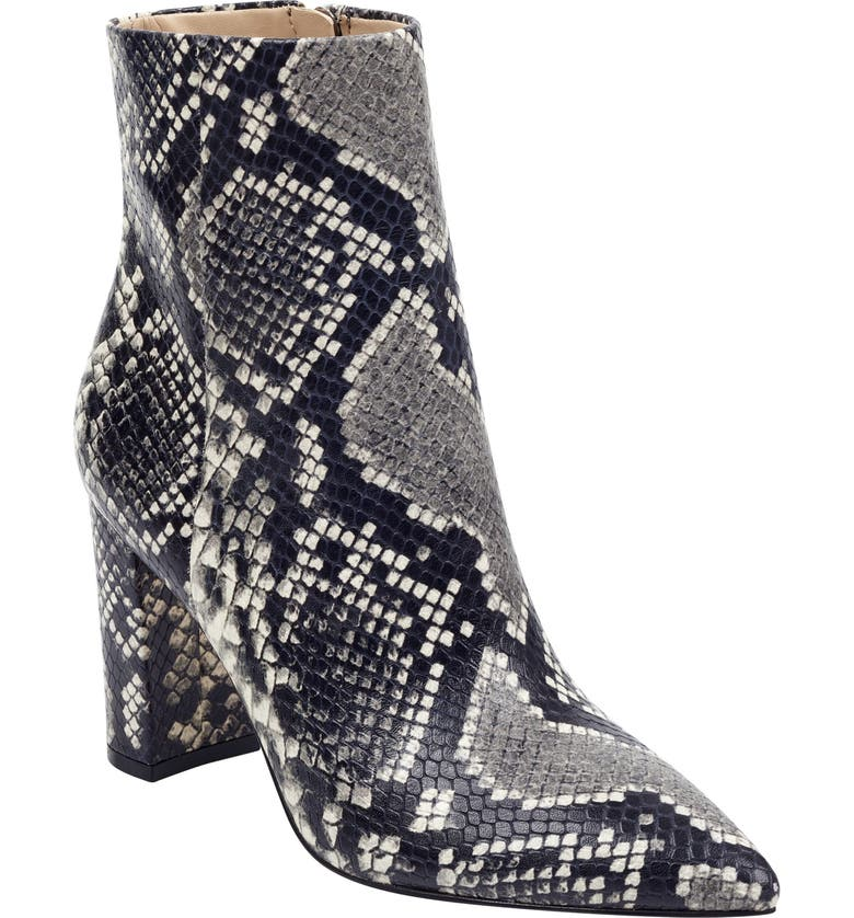 MARC FISHER LTD Ulani Pointy Toe Bootie, Main, color, BLACK WHITE SNAKE PRINT