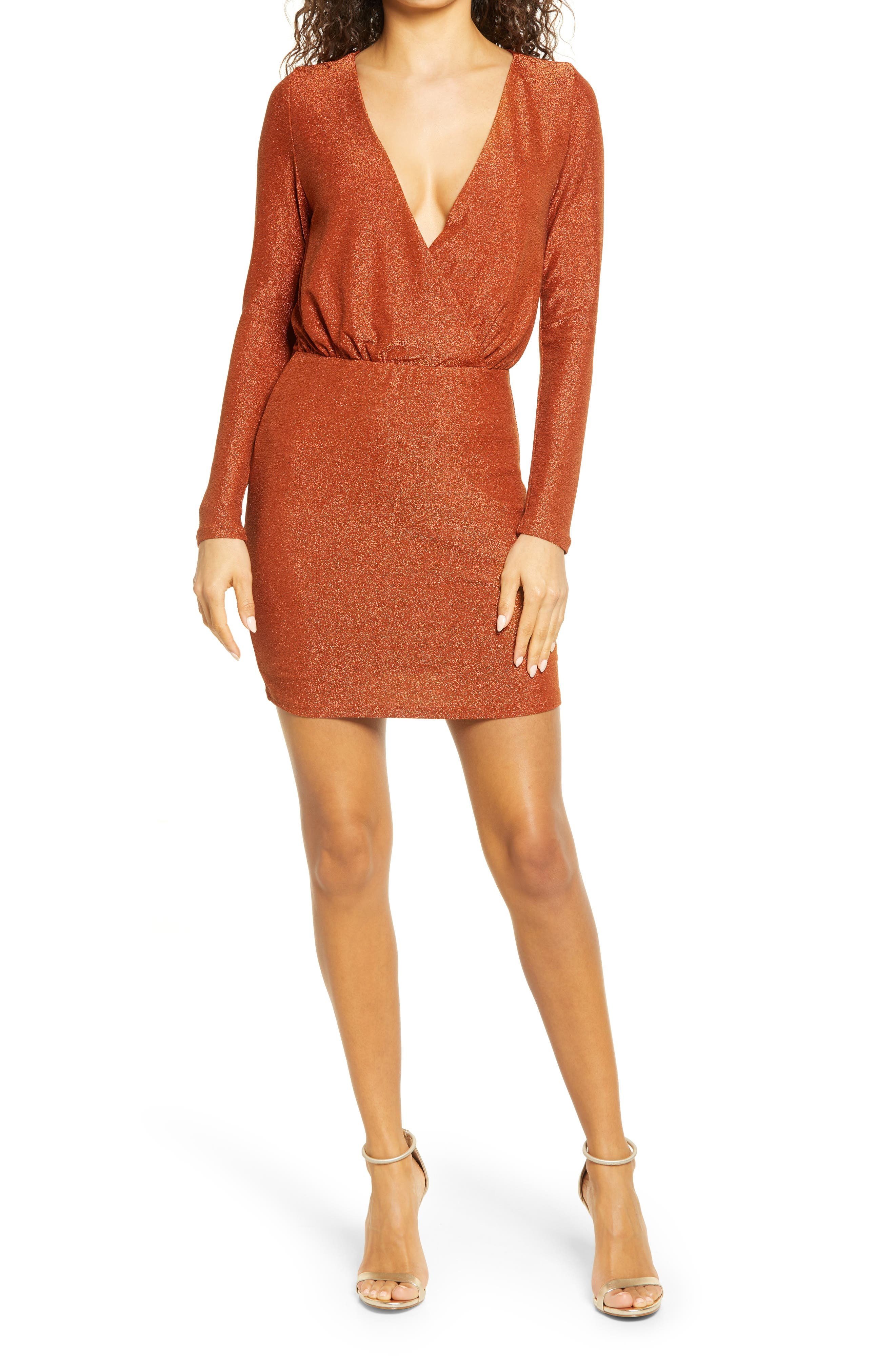 Metallic Long Sleeve Minidress