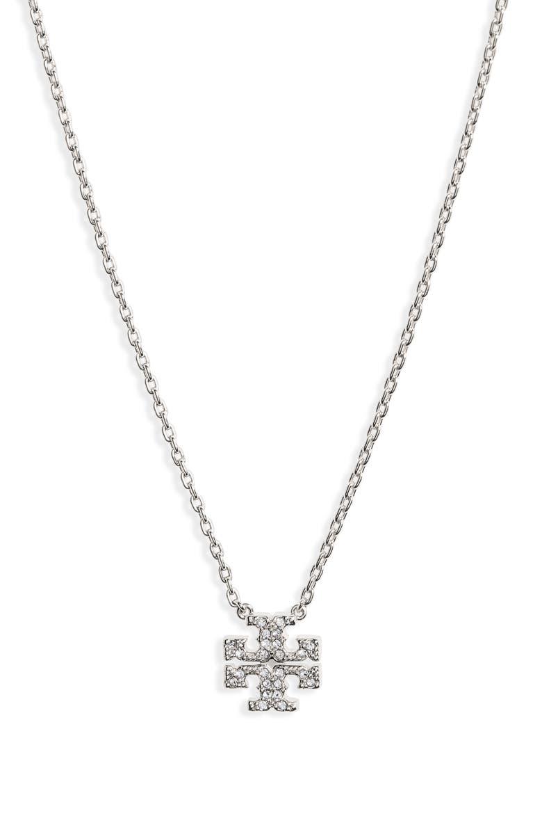 TORY BURCH Pavé Logo Charm Necklace, Main, color, 040
