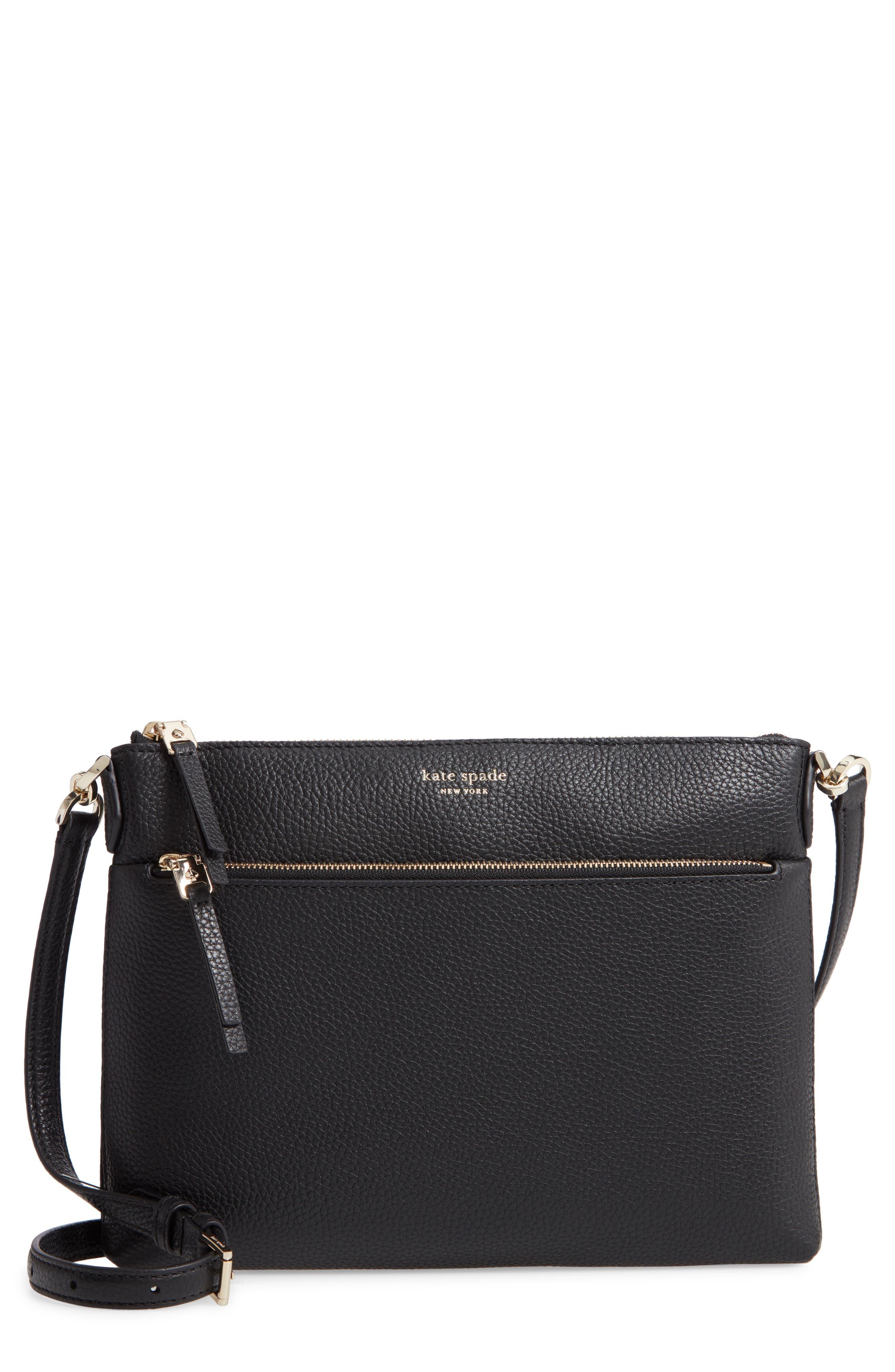 medium polly leather crossbody bag, Main, color, BLACK