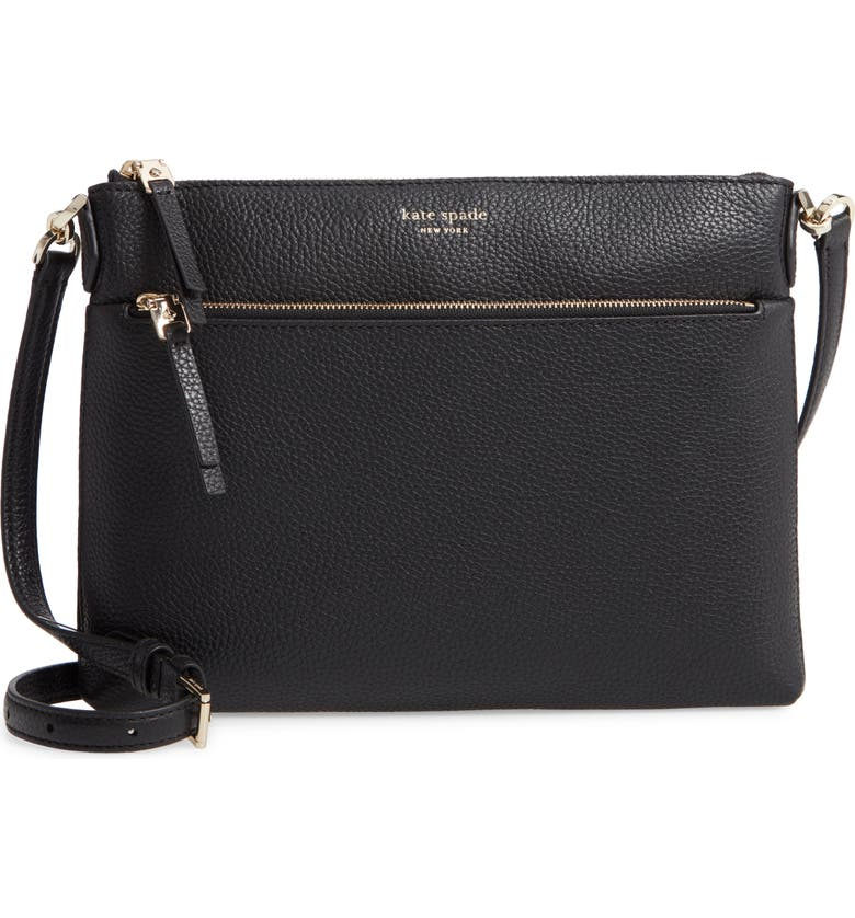 KATE SPADE NEW YORK medium polly leather crossbody bag, Main, color, BLACK