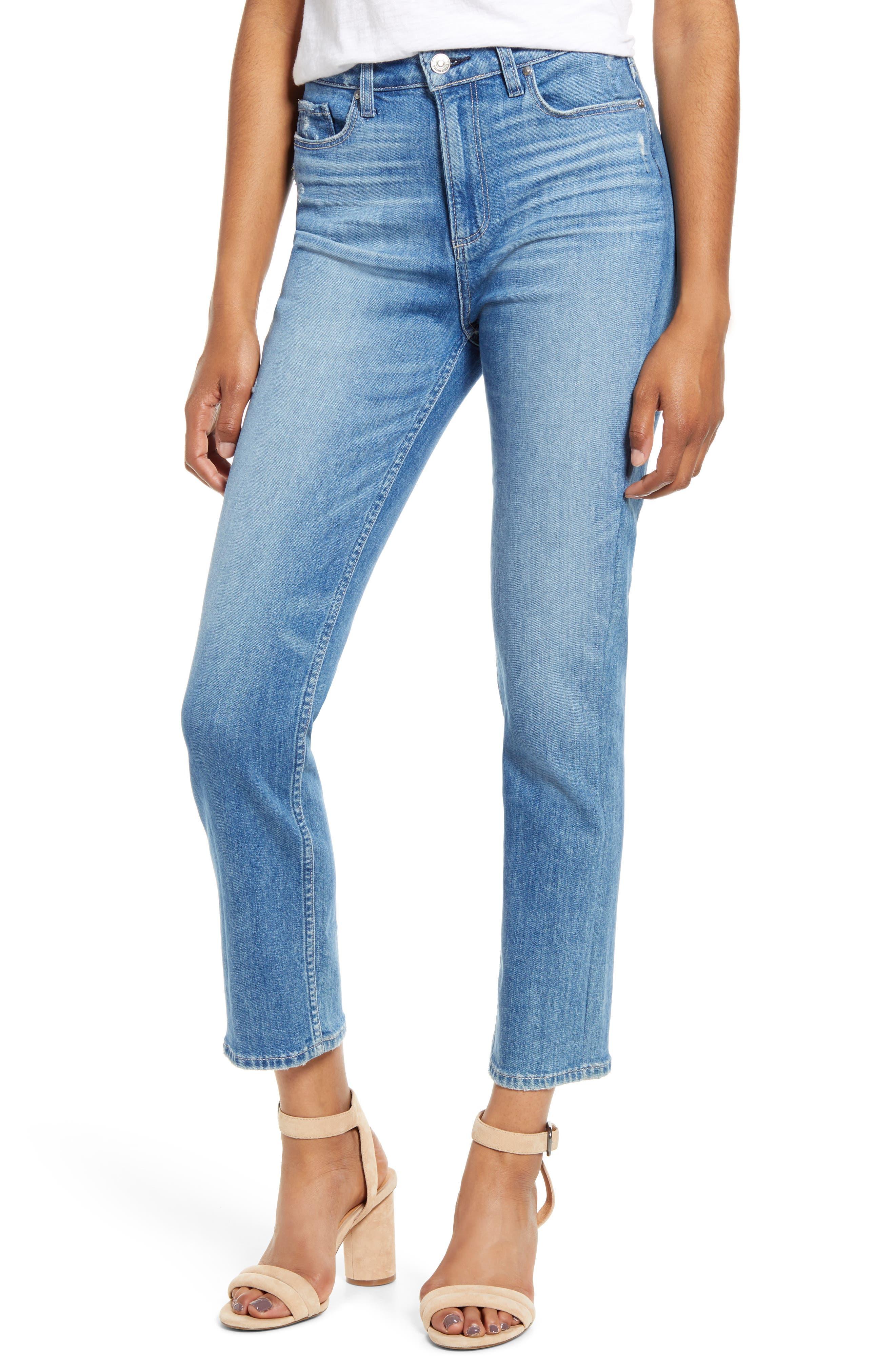 PAIGE Vintage - Hoxton High Waist Ankle Slim Fit Jeans (Casanova Distressed)