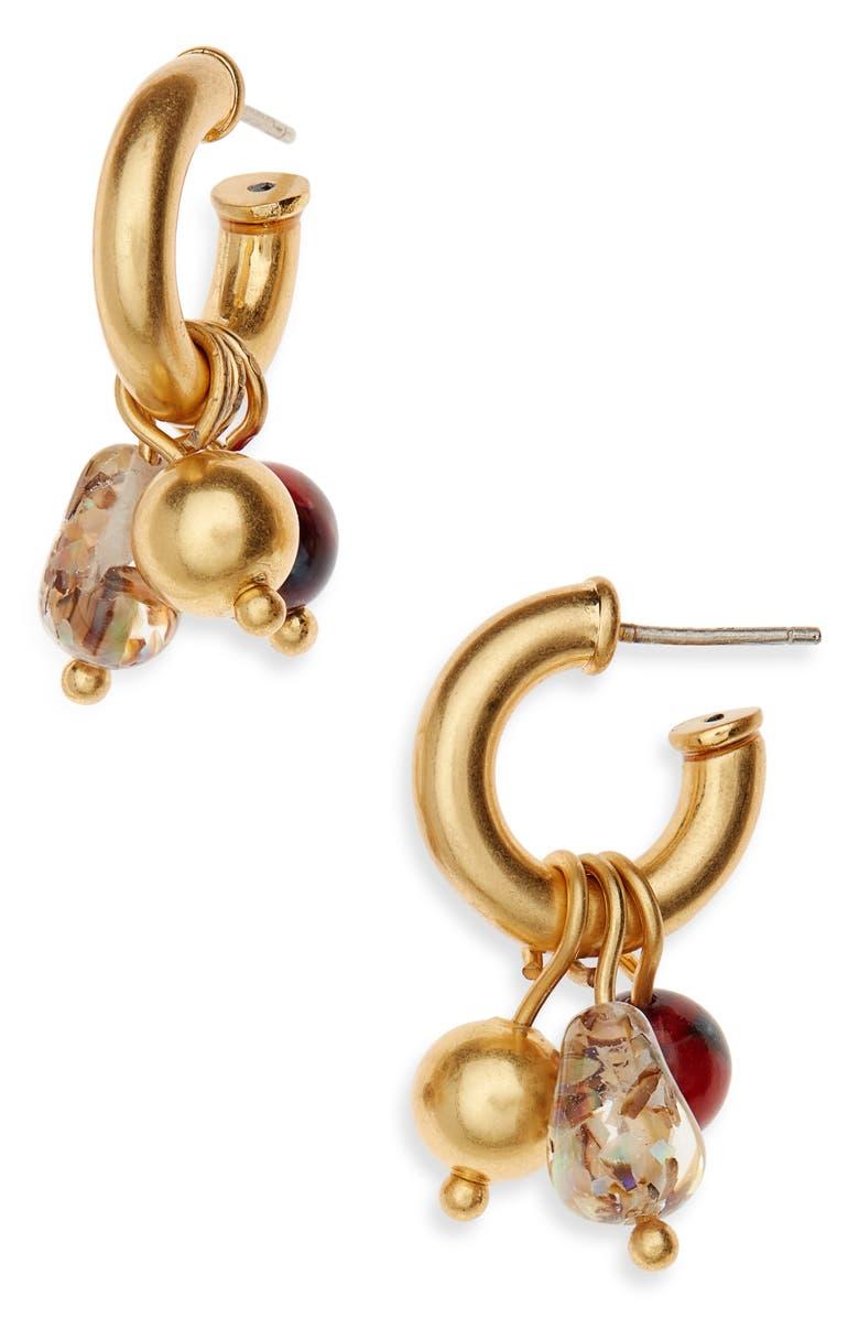 MADEWELL Chunky Charms Mini Hoop Earrings, Main, color, RUST MULTI