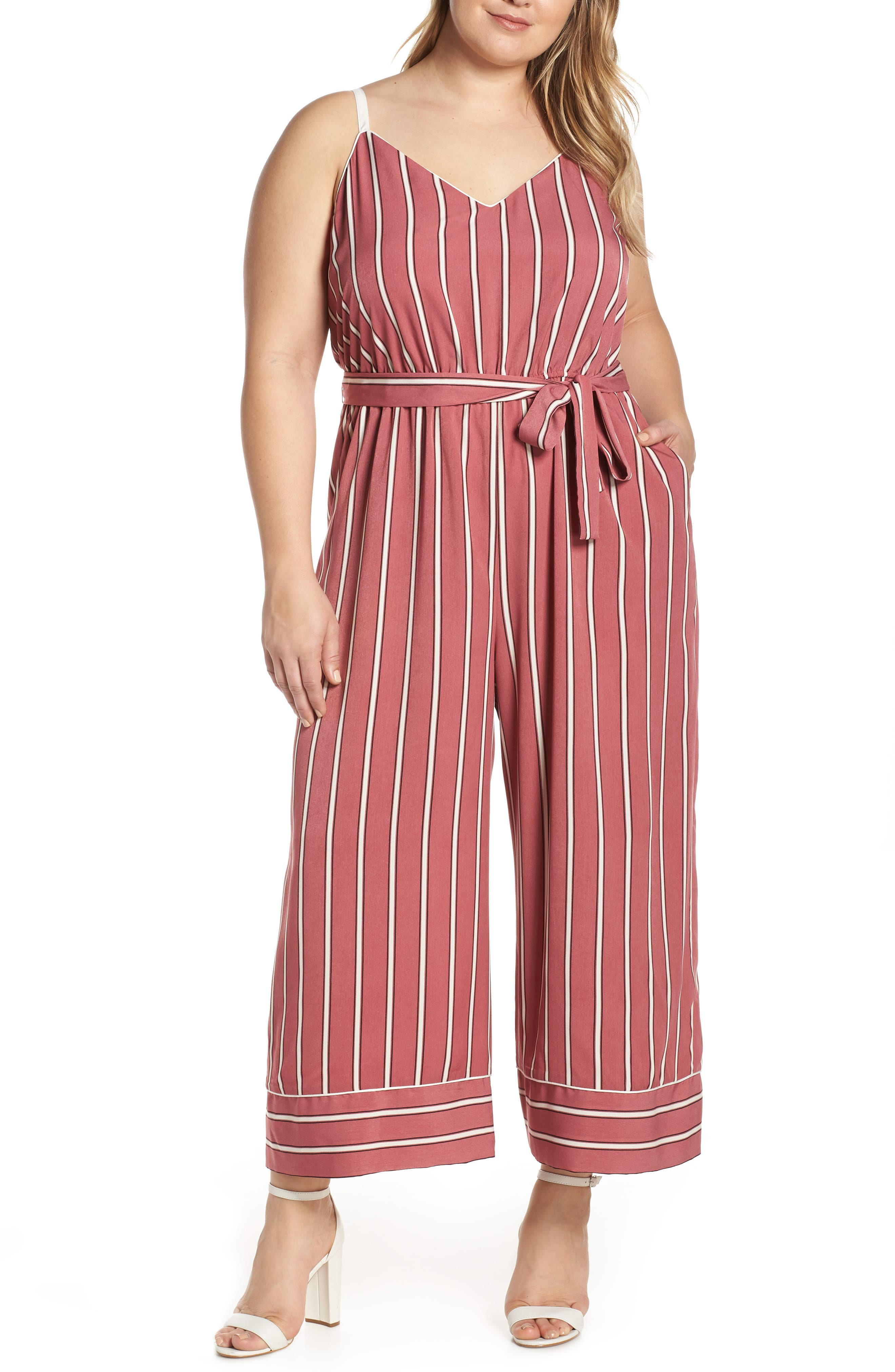 Leith Piped Cami Jumpsuit, Pink