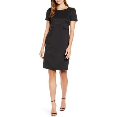 Anne Klein High Waist Twill Dress, Black