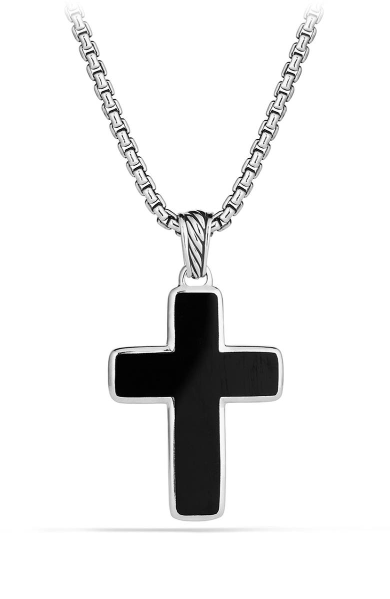 DAVID YURMAN 'Exotic Stone' Reversible Cross with Black Onyx, Main, color, BLACK ONYX