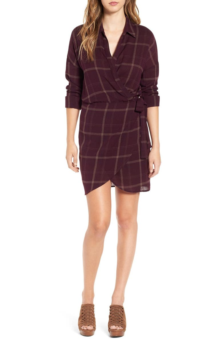 ASTR THE LABEL ASTR 'Rue' Plaid Wrap Front Dress, Main, color, 930