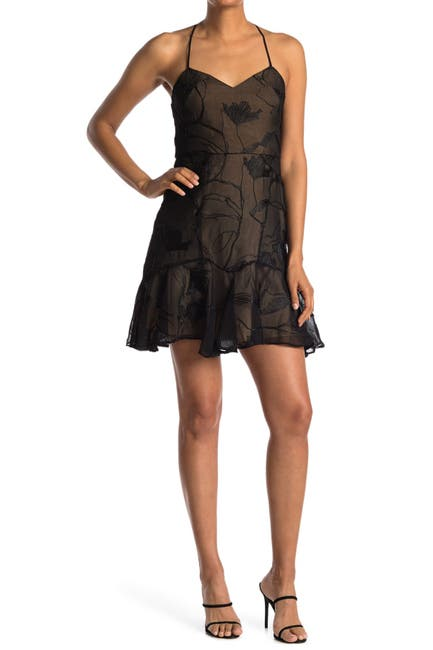 Image of HALSTON Embroidered Strappy Dress