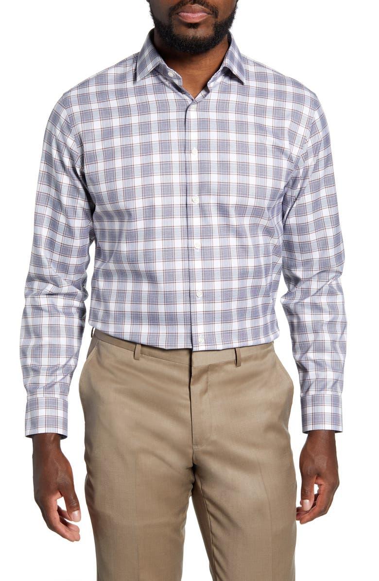 NORDSTROM Men's Shop Trim Fit Non-Iron Plaid Dress Shirt, Main, color, BROWN SHELL