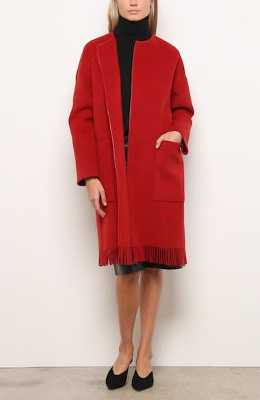 Barnett Fringe Trim Cashmere Coat, video thumbnail