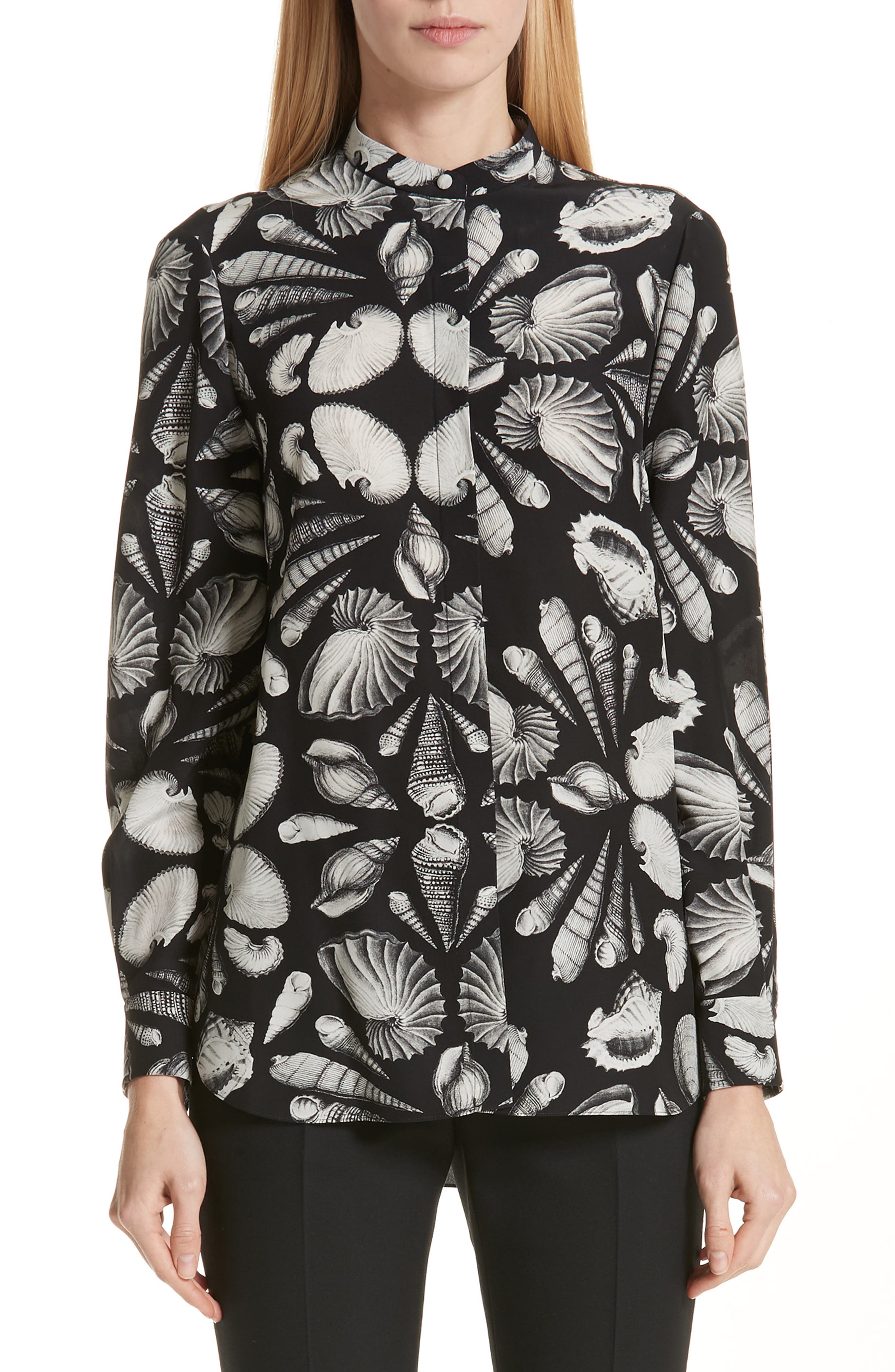 Cabinet of Shells Print Silk Blouse, Main, color, 1080 - BLACK IVORY