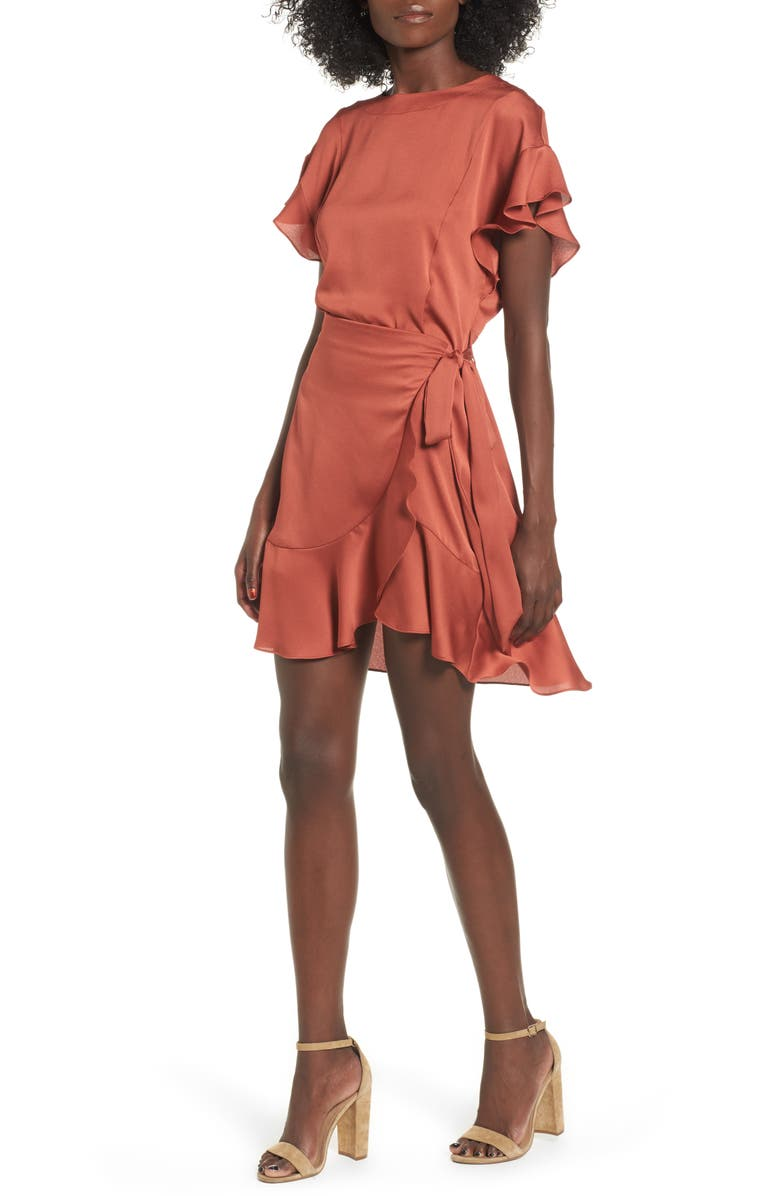 ASTR THE LABEL Ruffle Sleeve Satin Dress, Main, color, 200