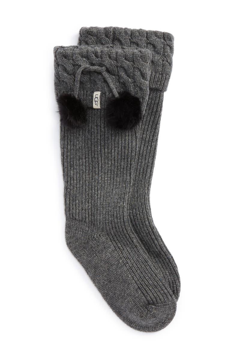 UGG<SUP>®</SUP> UGG UGGpure<sup>™</sup> Pompom Tall Rain Boot Sock, Main, color, CHARCOAL HEATHER WOOL