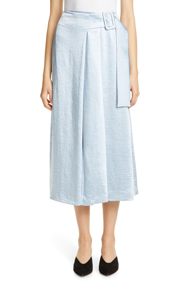 REJINA PYO Ellis Belted Satin Wrap Skirt, Main, color, SATIN BLUE