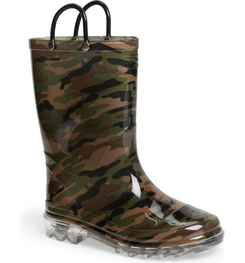 WESTERN CHIEF Camo Light-Up Waterproof Rain Boot, Main, color, 312