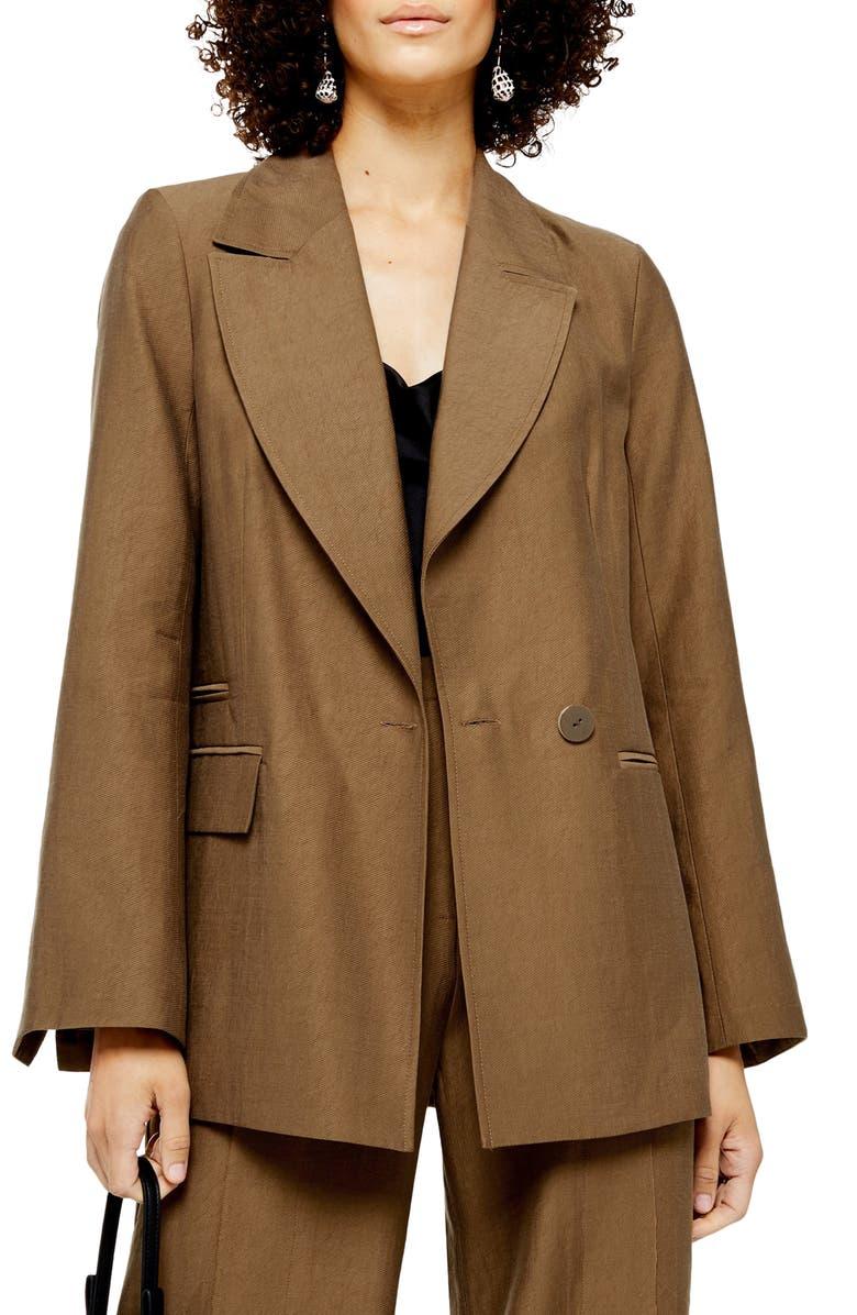 TOPSHOP Boxy Jacket, Main, color, CAMEL